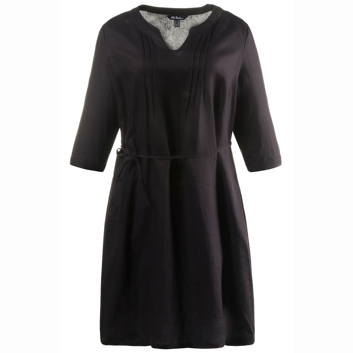 Платье, 100% льнаРукава  3/4 с планкой для фиксации отворотов (до 1/2 длины рукава). Длина ок.100 см, начиная от размера 52/54 - ок.104 см.<br><br>Цвет: черный<br>Размер: 48/50 (FR) - 54/56 (RUS)