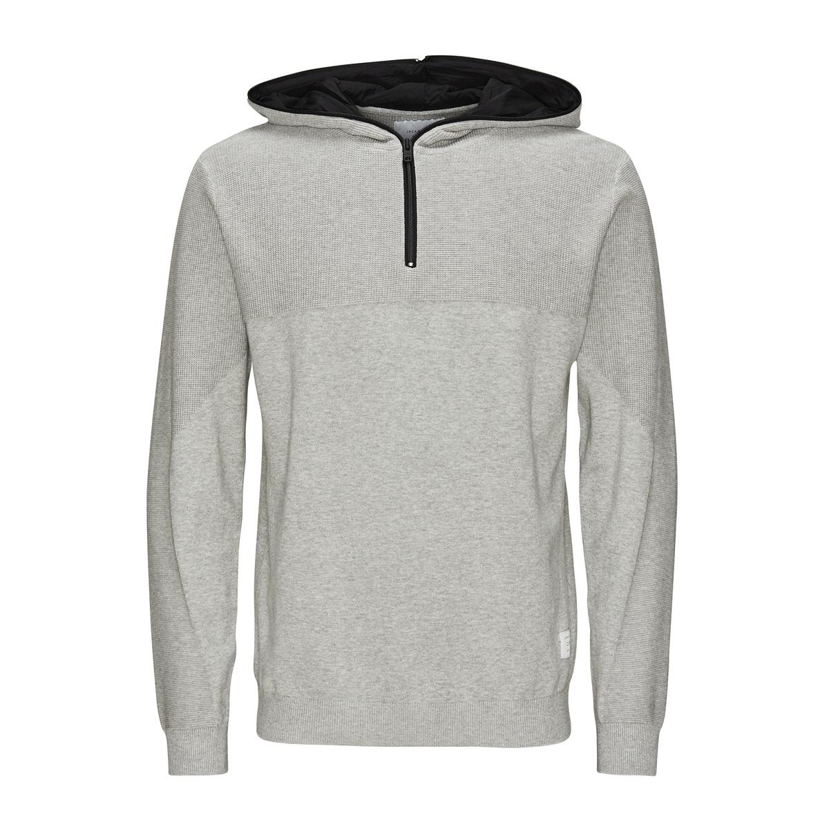 Пуловер с капюшономСостав и описаниеМатериал: 100% хлопок.Марка: JACK &amp; JONES.<br><br>Цвет: светло-серый меланж,черный<br>Размер: M