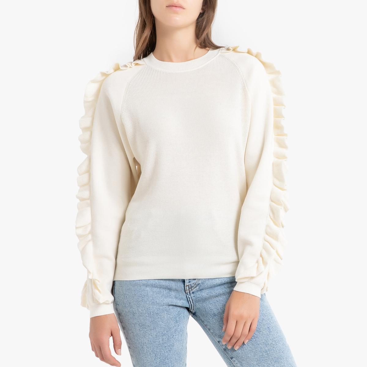 Пуловер La Redoute С круглым вырезом и воланами из тонкого трикотажа CIEL 2(M) бежевый