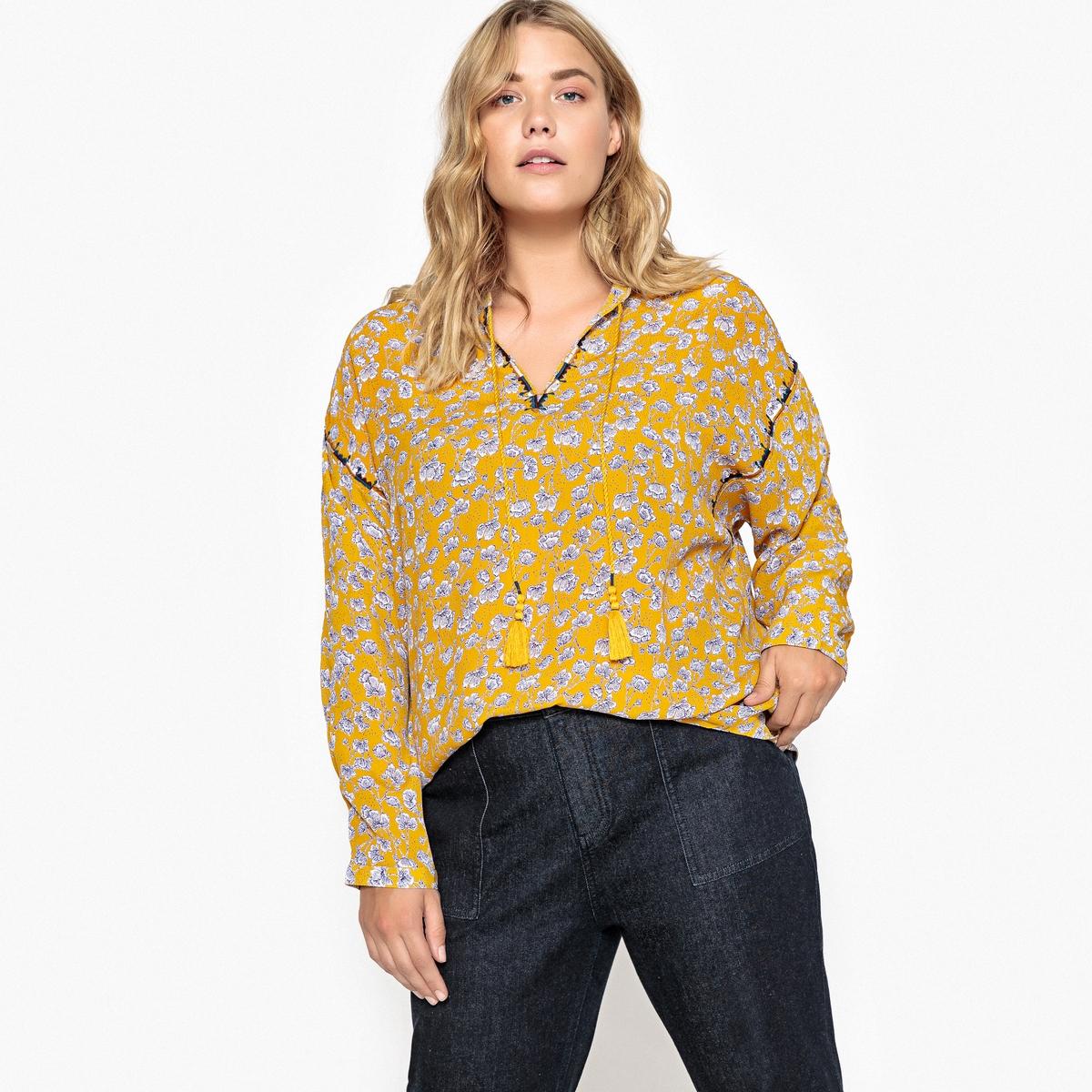 Блузка с круглым вырезом с разрезом спереди, длинными рукавами и цветочным принтом