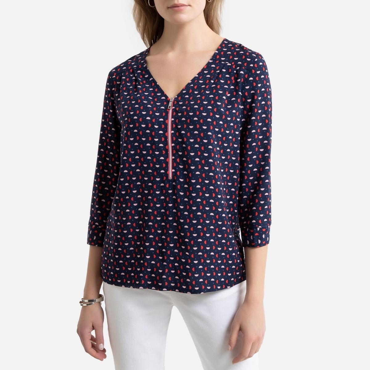 Блузка LaRedoute С V-образным вырезом графическим принтом рукавами 34 42 (FR) - 48 (RUS) синий блузка la redoute с рукавми и v образным вырезом 36 fr 42 rus синий
