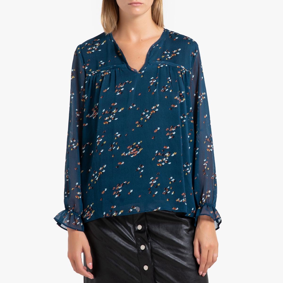Блузка La Redoute С рисунком и длинными рукавами CALIS XS синий блуза la redoute с рисунком и длинными рукавами s синий