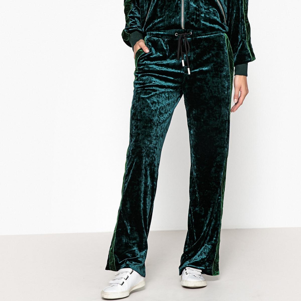 Брюки широкие из велюра с атласной полосой брюки скинни из велюра