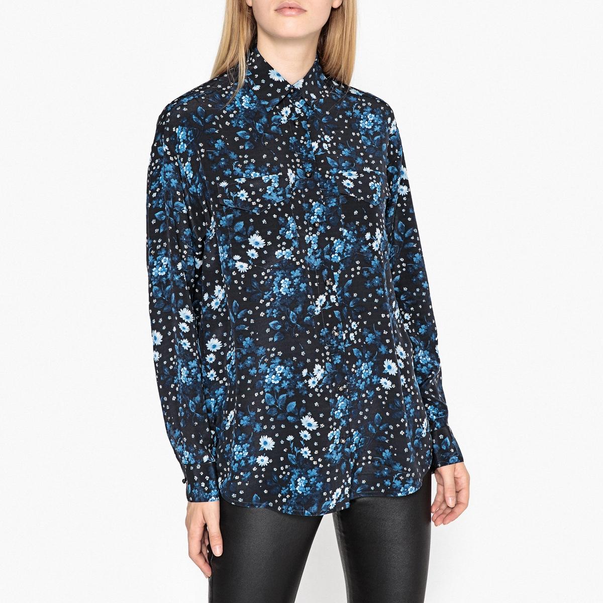 Рубашка шёлковая с цветочным рисунком и длинными рукавами цена 2017