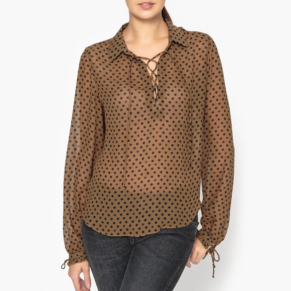 Блузка с рисунком, со шнуровкой на вырезе maison scotch футболка с длинными рукавами