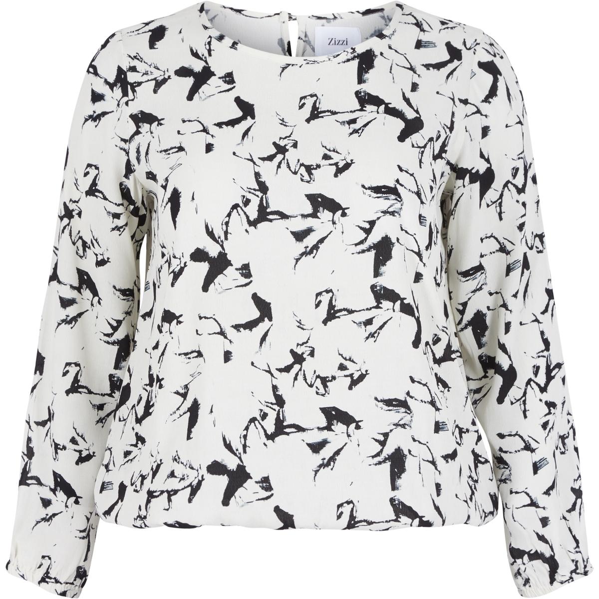БлузкаБлузка с длинными рукавами ZIZZI. Женственная блузка из тонкой дышащей вискозы с красивым рисунком. Края рукавов и низа на резинке. Застежка на пуговицы сзади. 100% вискоза.<br><br>Цвет: наб. рисунок синий,Рисунок/экрю<br>Размер: 46/48 (FR) - 52/54 (RUS).50/52 (FR) - 56/58 (RUS)