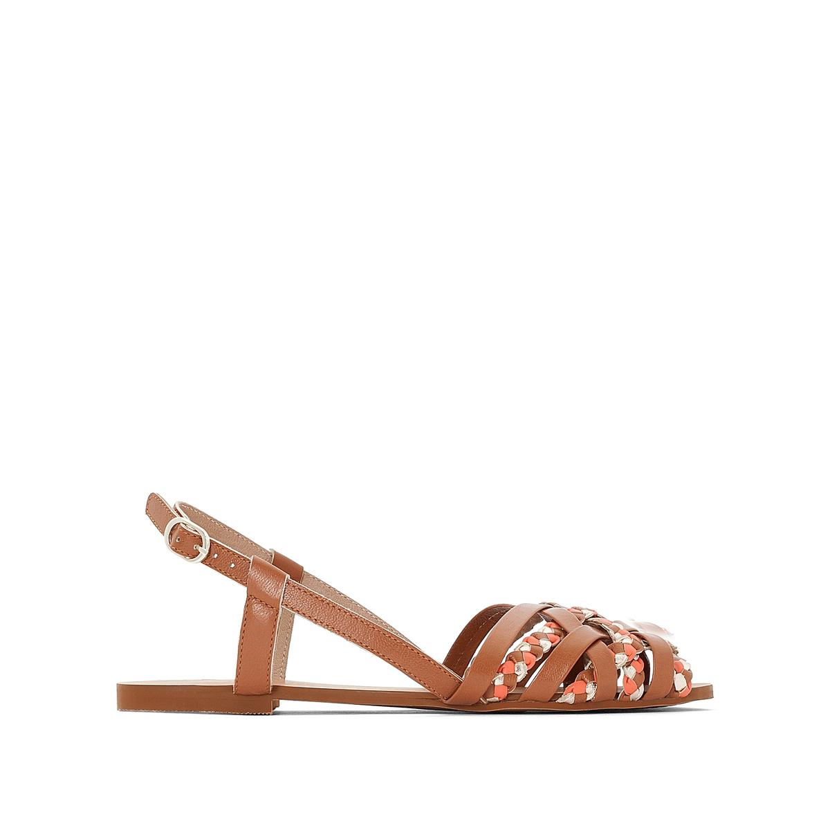 Босоножки кожаные с плетеными ремешками на плоском каблуке босоножки кожаные на плоском каблуке la conquise