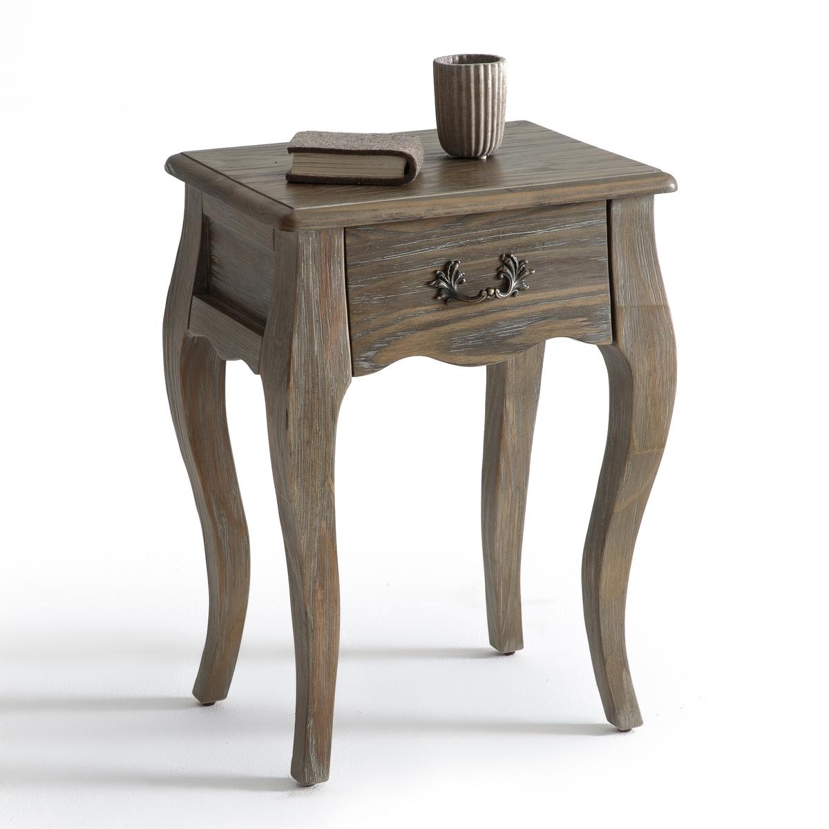 Столик прикроватный с 1 ящиком JANELПрикроватный столик с 1 ящиком, Janel. Столик с красивыми изгибами и патинированной отделкой добавит нотку утонченности в интерьер Вашей спальни.Описание прикроватного столика с 1 ящиком, Janel :1  ящикХарактеристики прикроватного столика с 1 ящиком Janel :Массив сосны Патинированная отделка, лаковое нитроцеллюлозное покрытиеМеталлическая ручкаДоставка в собранном видеВсю коллекцию Janel Вы найдете на laredoute.ruРазмеры прикроватного столика с 1 ящиком, Janel : Общие :Ширина : 40 смВысота : 55 смГлубина : 30 смВнутренние размеры ящика :Ш.23 x В.6 x Г.19 смРазмеры и вес упаковки :1 упаковкаШ.64 x В.47 x Г.37 см, 6,5 кгДоставка :Прикроватный столик Janel поставляется в собранном виде. Доставка будет осуществлена до вашей квартиры по предварительной договоренности !Внимание ! Убедитесь, что посылку возможно доставить на дом, учитывая ее габариты<br><br>Цвет: дерево,черный