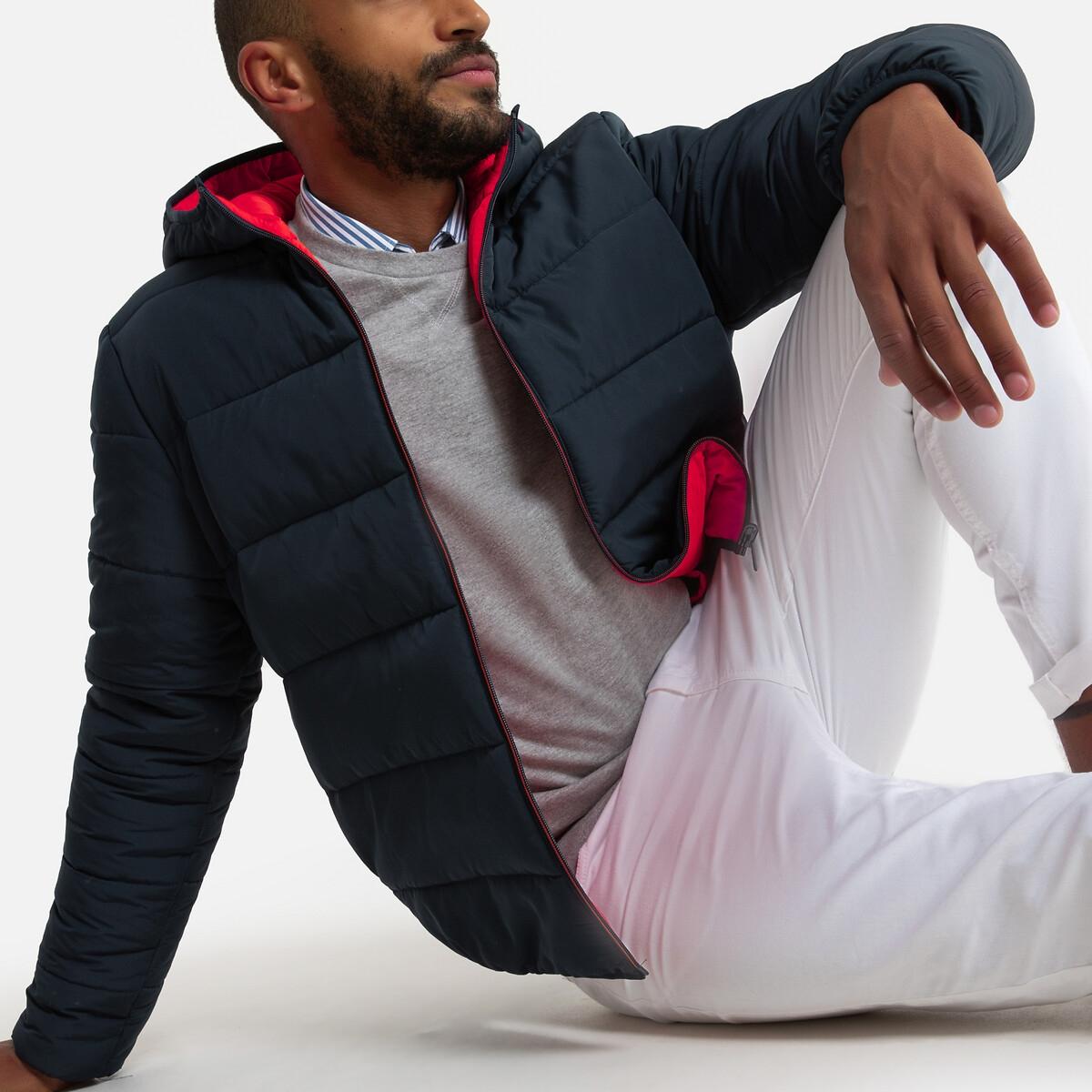 Куртка LaRedoute Стеганая с капюшоном двухсторонняя XL синий куртка la redoute стеганая на молнии с капюшоном idaho 2 3xl синий