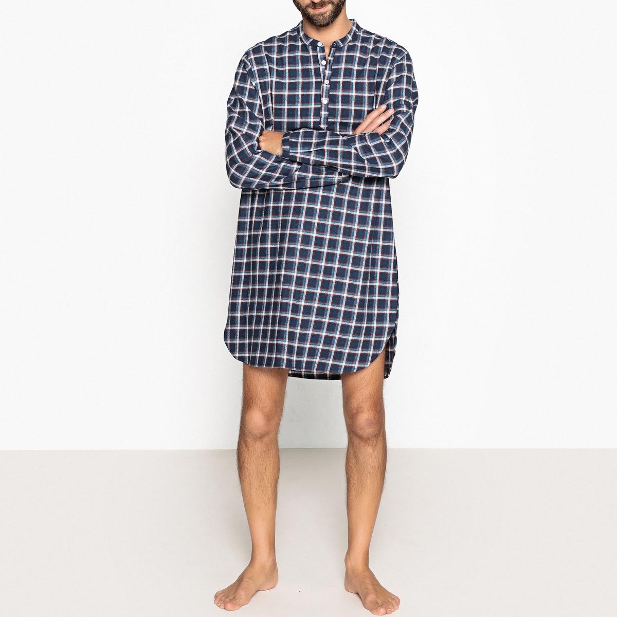 Camisa de noite aos quadrados para homem, decote tunisino