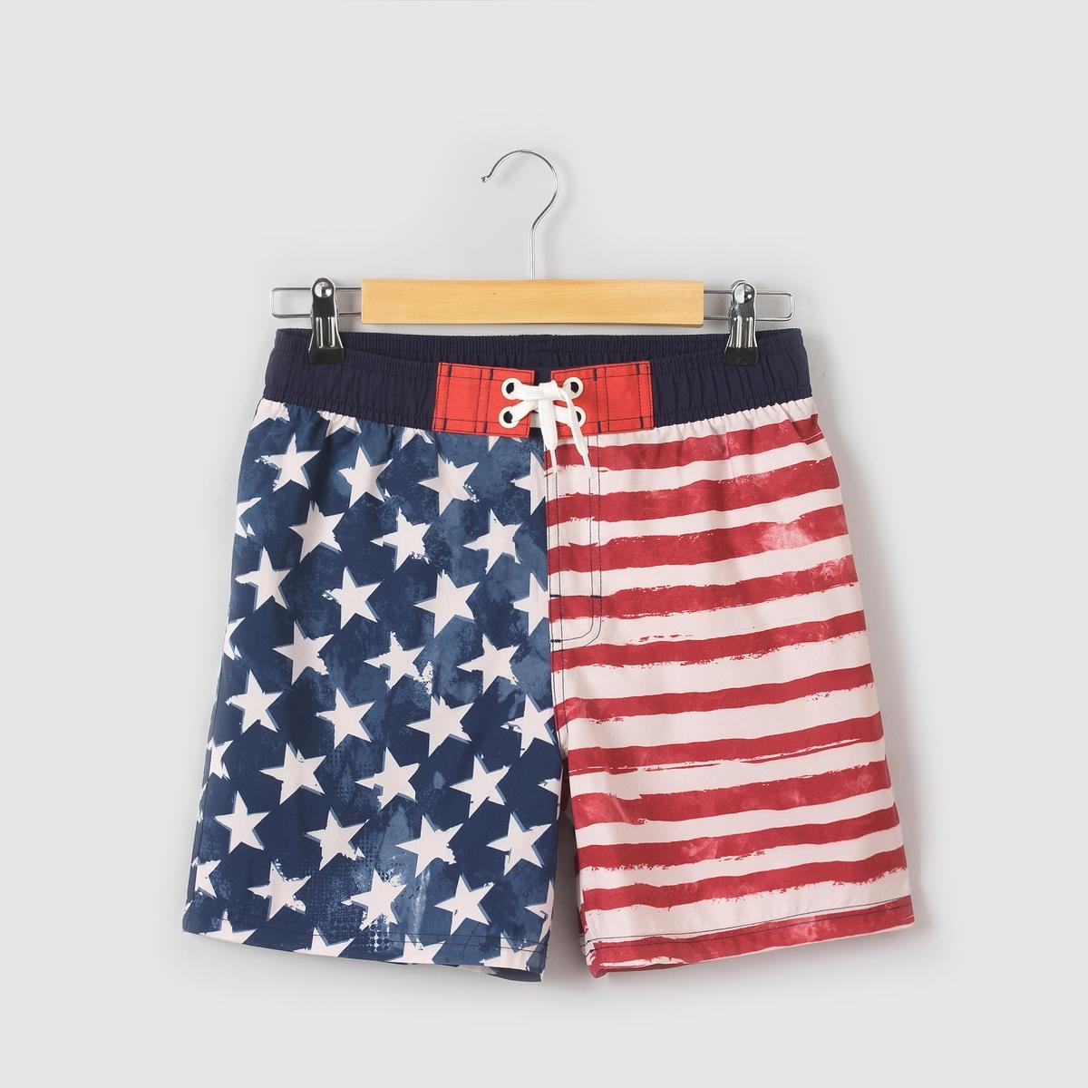 Calções de banho, estampado bandeira EUA, 10-16 anos