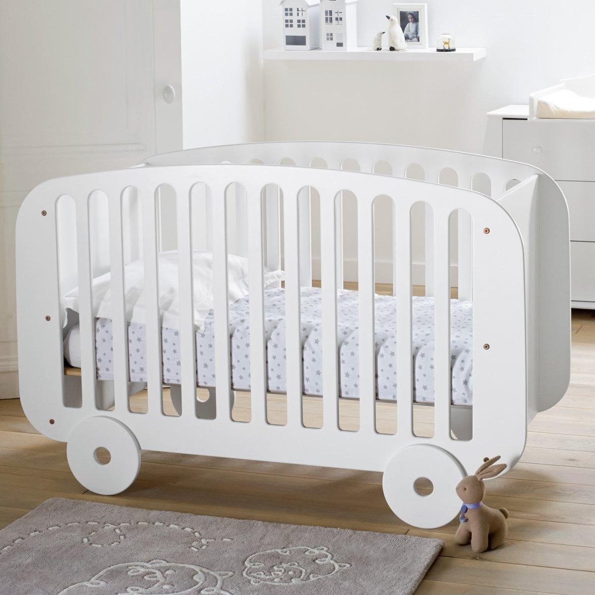 Кроватка LaRedoute Детская в форме вагона с регулируемым по высоте реечным дном 60 x 120 см белый