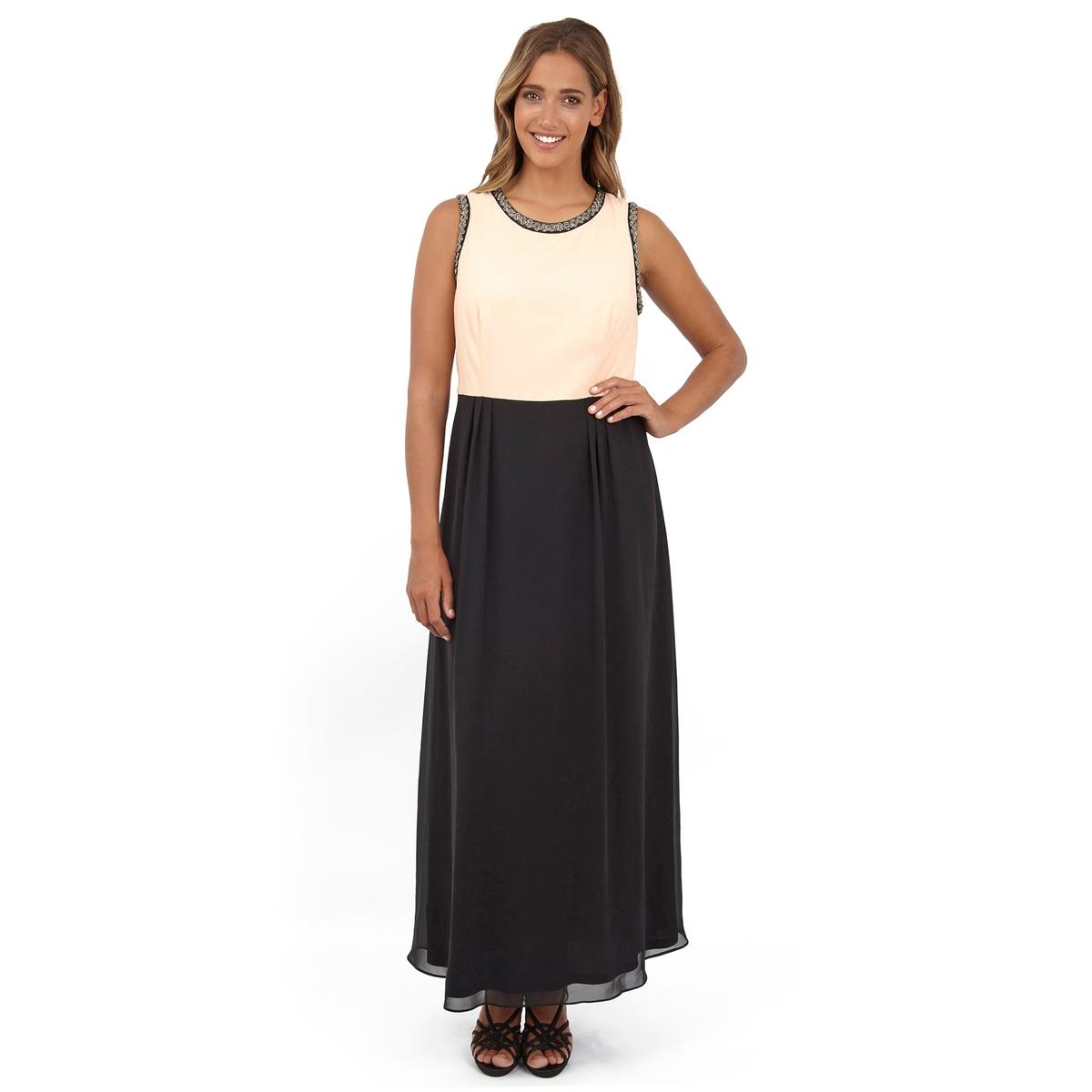 Платье длинноеПлатье длинное без рукавов - LOVEDROBE. Симпатичное двухцветное платье-макси. Длина ок.155 см<br><br>Цвет: слоновая кость/ черный<br>Размер: 58/60 (FR) - 64/66 (RUS).50/52 (FR) - 56/58 (RUS)