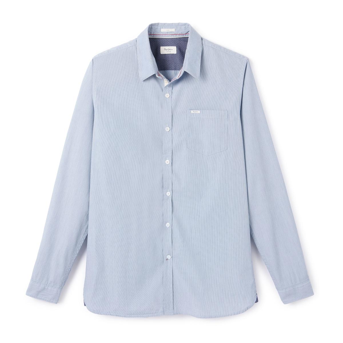 Рубашка с длинными рукавамиДетали •  Длинные рукава •  Приталенный покрой   •  Классический воротник •  Рисунок в полоску  Состав и уход •  100% хлопок •  Следуйте советам по уходу, указанным на этикетке<br><br>Цвет: небесно-голубой