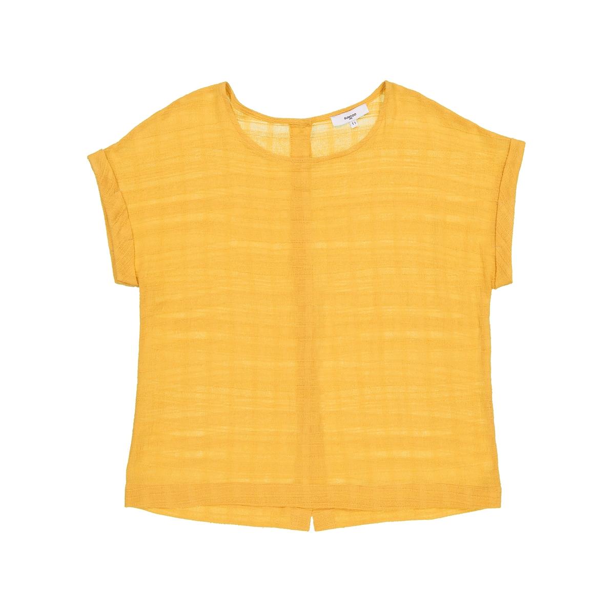 Блузка из хлопкаДетали •  Короткие рукава •  Круглый вырез Состав и уход   •  100% хлопок • Просьба следовать советам по уходу, указанным на этикетке изделия<br><br>Цвет: желтый карри<br>Размер: L