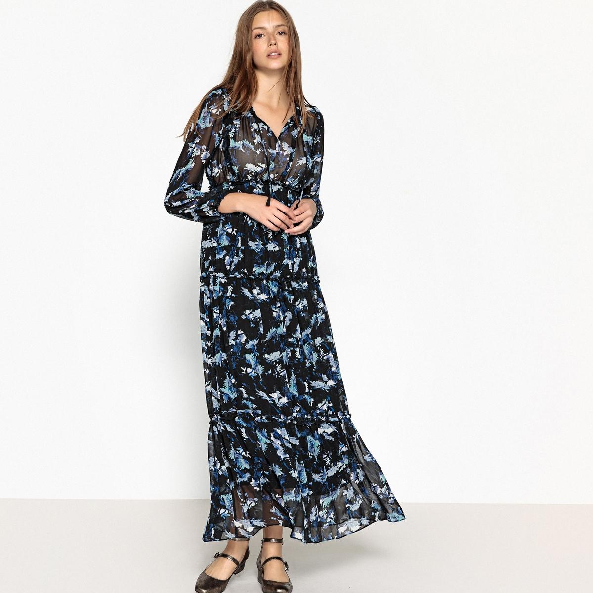 Платье La Redoute Длинное с цветочным принтом CHLOE XS черный туфли la redoute на среднем каблуке с питоновым принтом 36 каштановый