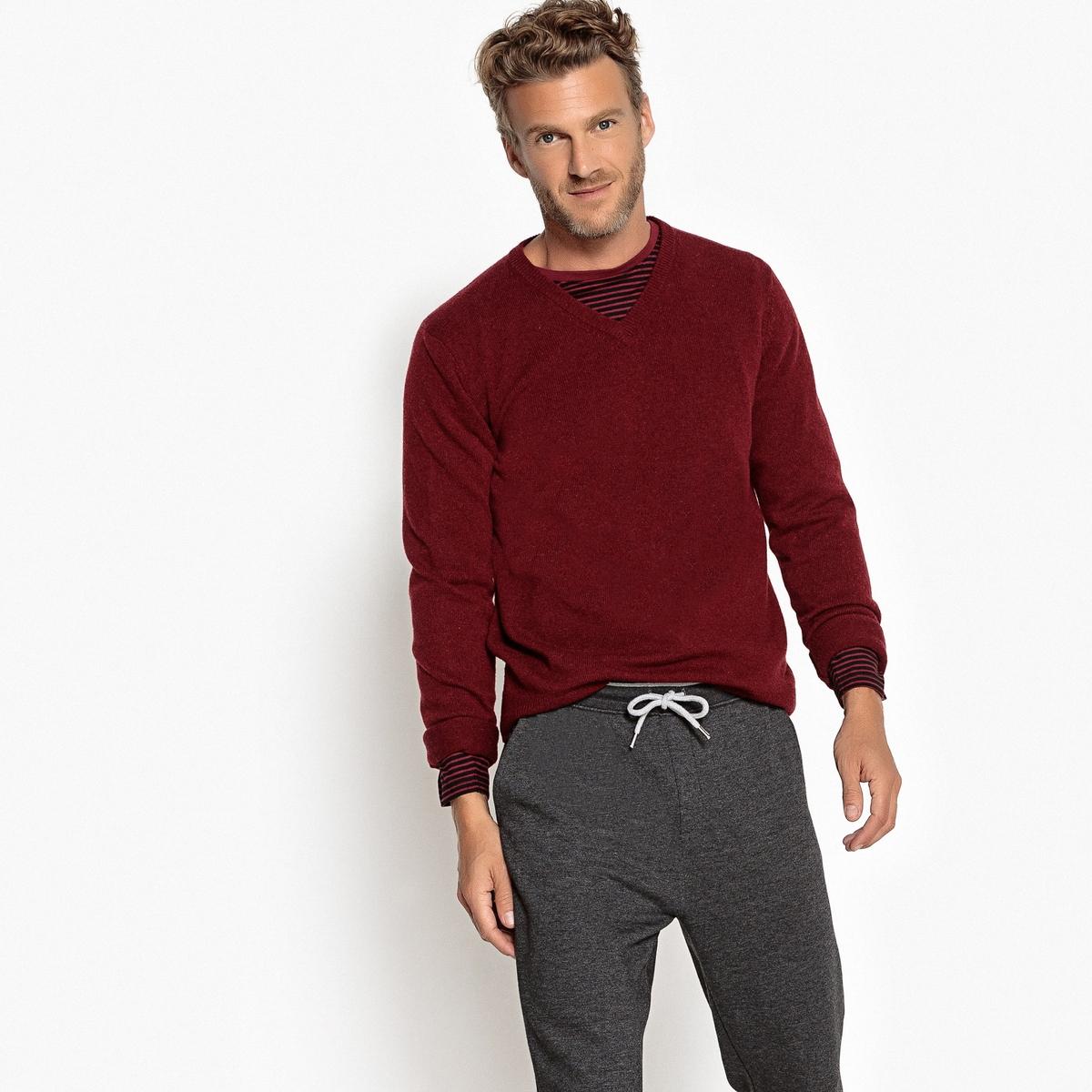 Пуловер с V-образным вырезом, 100% овечьей шерсти пуловер из плотного трикотажа с v образным вырезом