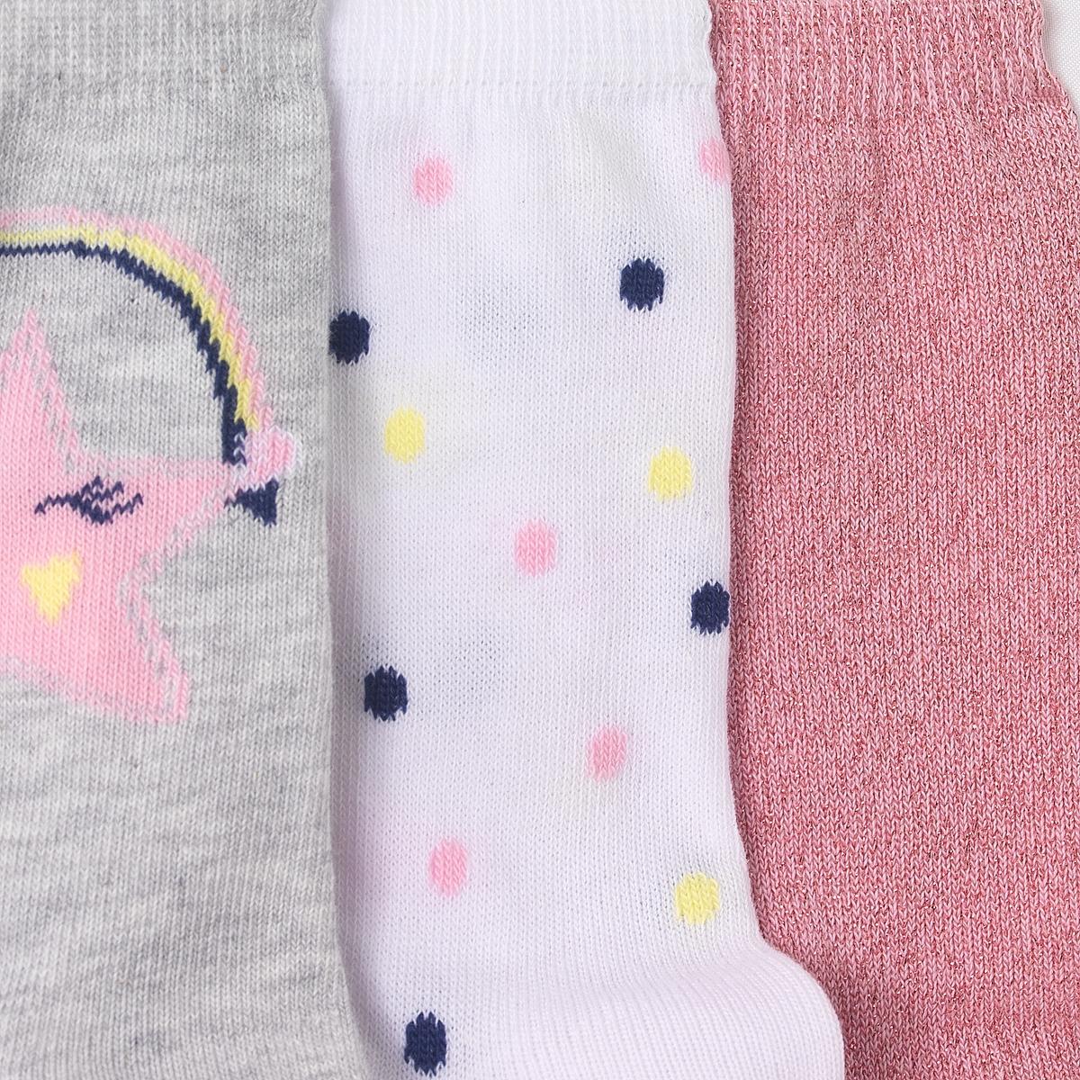 Носки высокие (3 пары),  3-12 летКомплект из 3 пар оригинальных носков: 1 с рисунком звезды + 1 в горох + 1 пара с блестящим эффектом. Состав и описание : Материал: 74% хлопка (включая металлизированные волокна), 25% полиамида, 1% эластанаМарка         abcdRУход :Ручная стиркаМашинная сушка запрещенаНе гладить<br><br>Цвет: набивной рисунок<br>Размер: 19/22.35/38.23/26