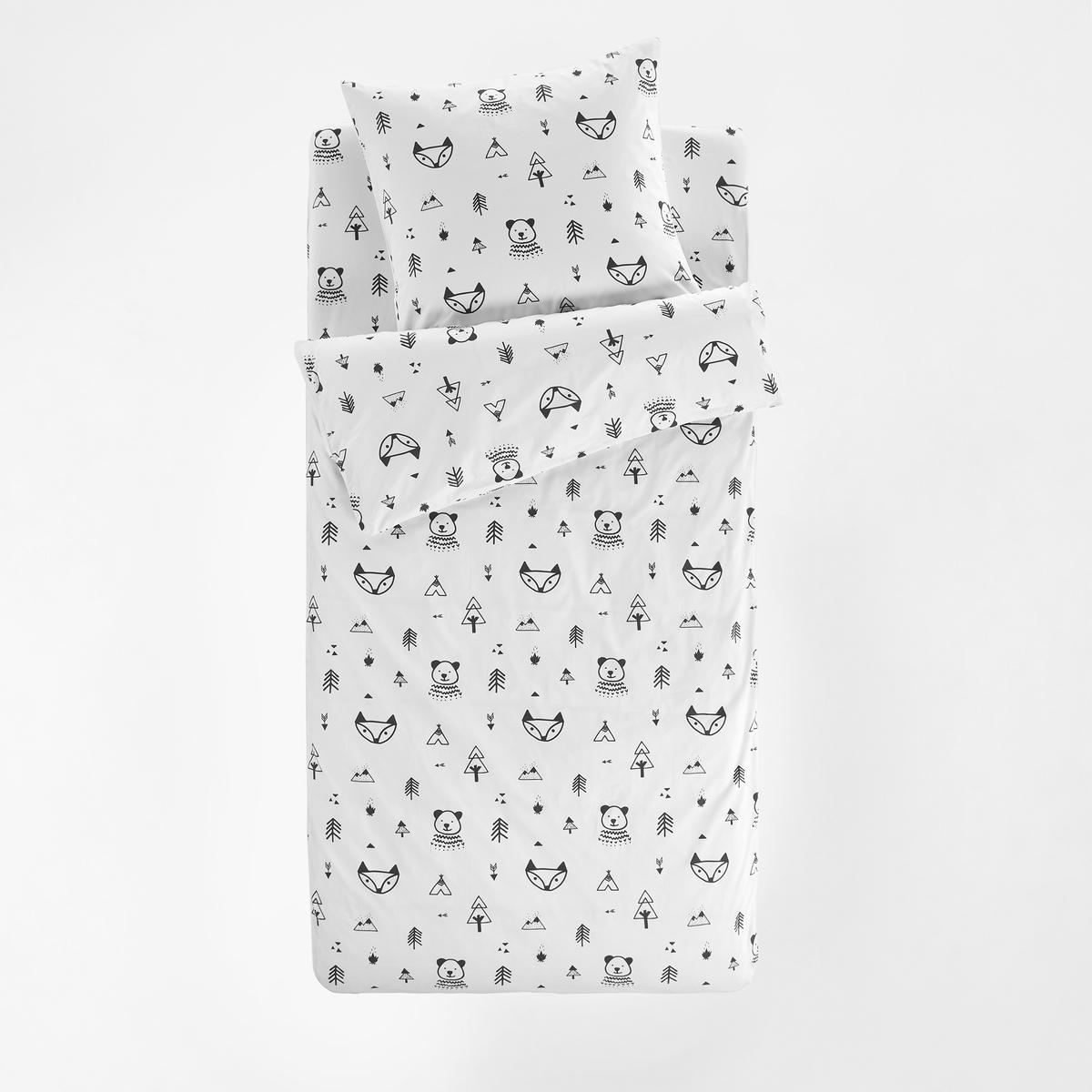 цена Постельное La Redoute Белье без одеяла FOREST CAMP 90 x 140 см зеленый онлайн в 2017 году