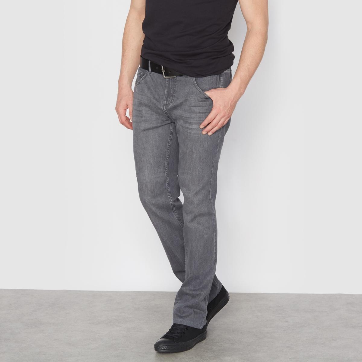 Джинсы из денима стретч серого цвета, эластичный пояс по бокам