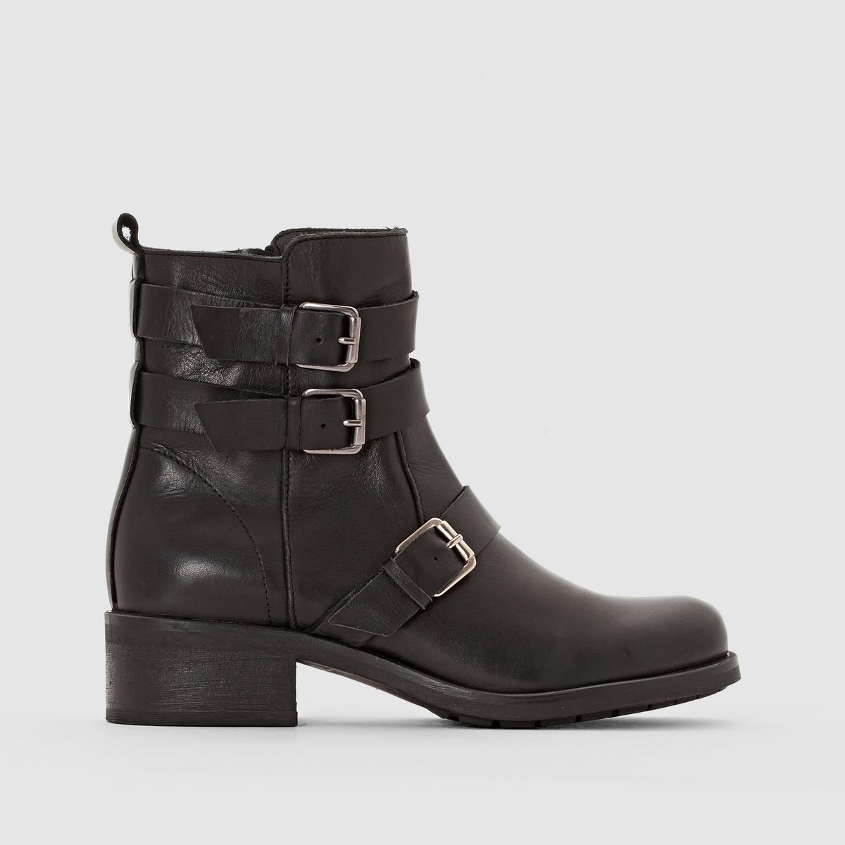 Ботинки кожаные в байкерском стиле от La Redoute Collections