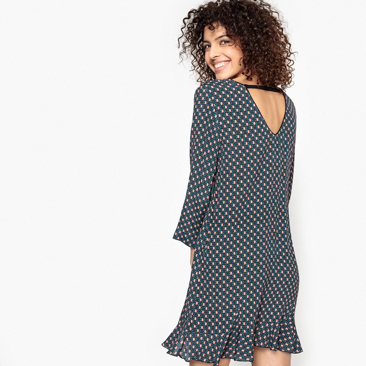 Платье прямое с рисунком и вырезом сзади CALLISTE женские блузки и рубашки choice 2015 sheinside blusas 3225