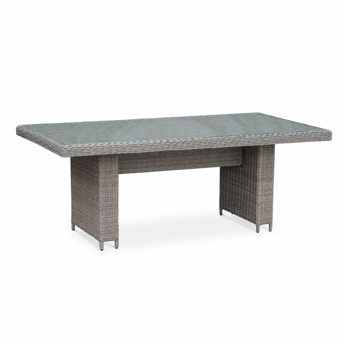 Table de jardin 6 places en résine tressée arrondie - lecco gris ...