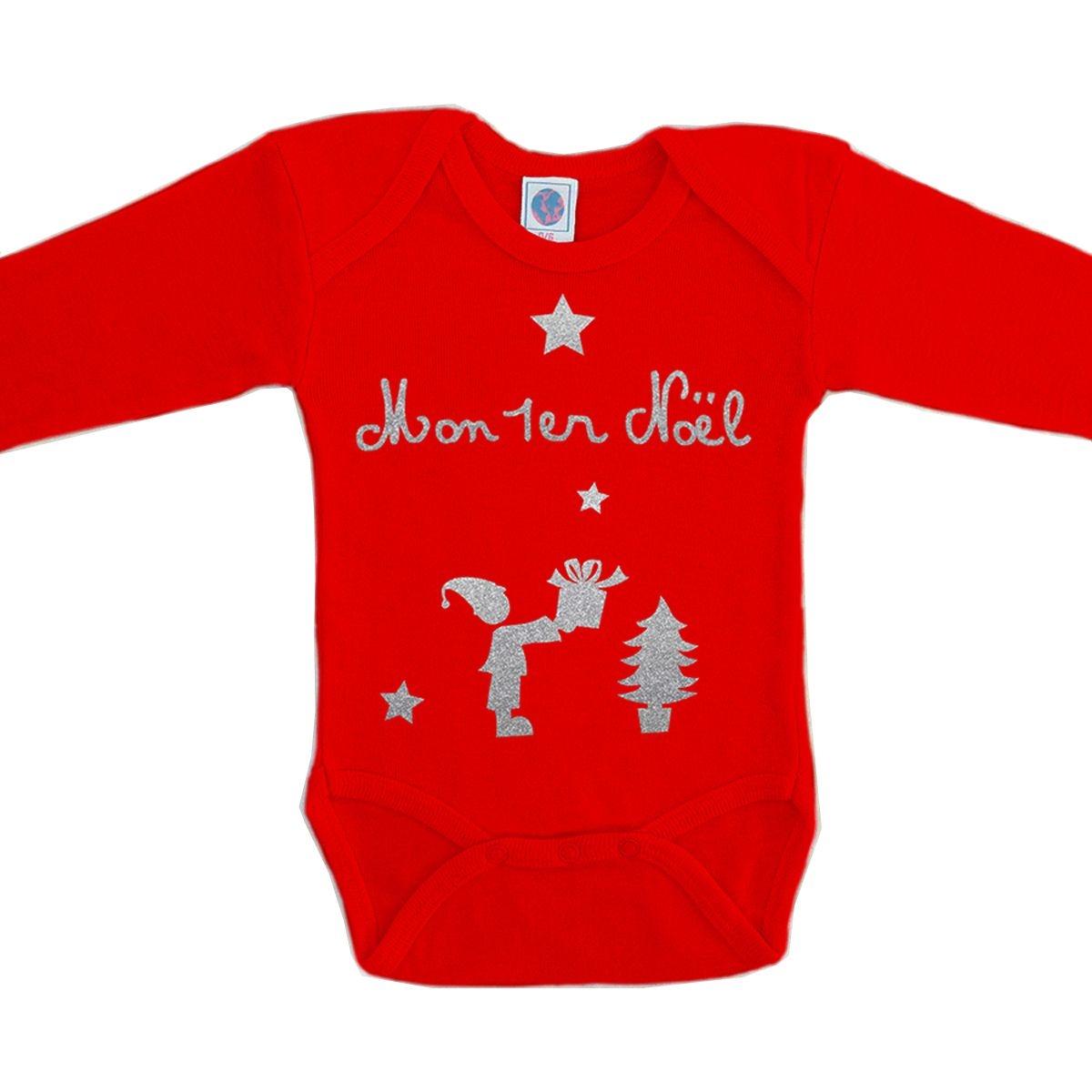 Body bébé Noël coton manches longues rouge