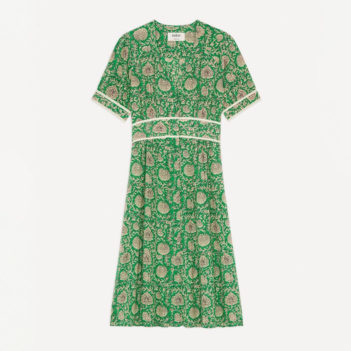 Платье LaRedoute Расклешенное миди с короткими рукавами PLUM 0(XS) зеленый