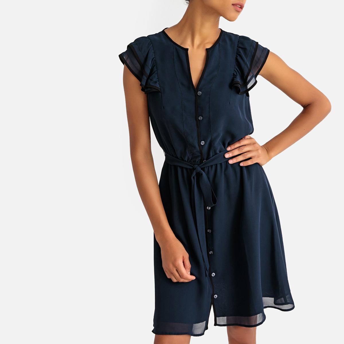 Платье-миди La Redoute Расклешенное с короткими рукавами с воланами 42 (FR) - 48 (RUS) синий платье миди la redoute расклешенное с короткими рукавами 42 fr 48 rus красный