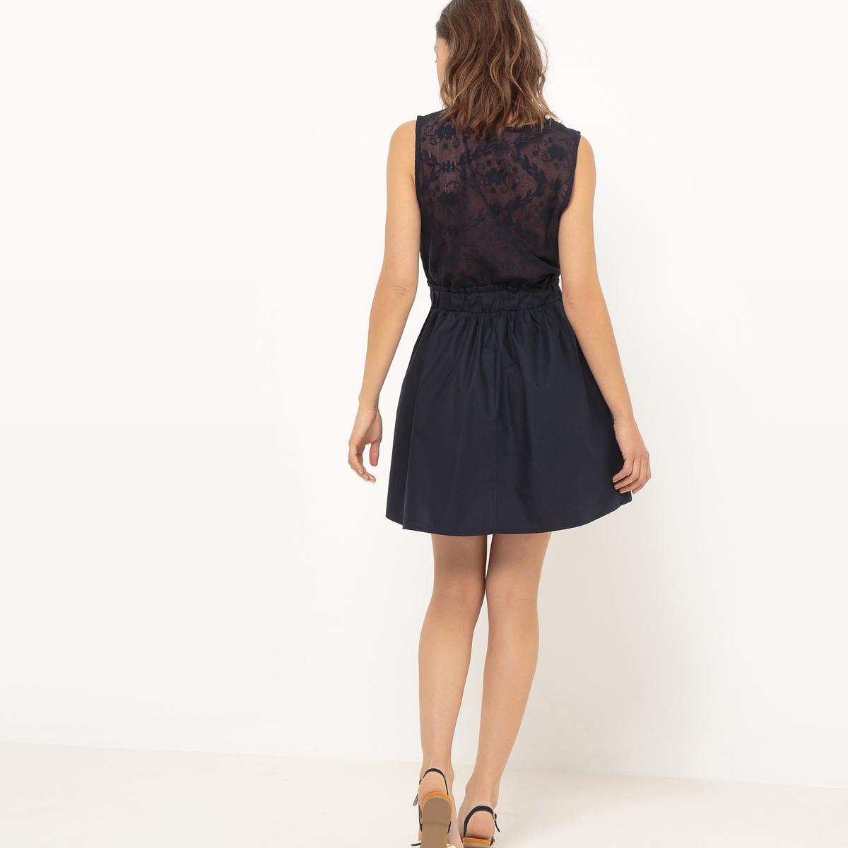 Платье короткое без рукавовДетали •  Форма : расклешенная •  короткое   •  Без рукавов      •  Круглый вырез •  Эластичный пояс  Состав и уход •  35% хлопка, 65% полиэстера   •  Следуйте советам по уходу, указанным на этикетке<br><br>Цвет: темно-синий<br>Размер: L