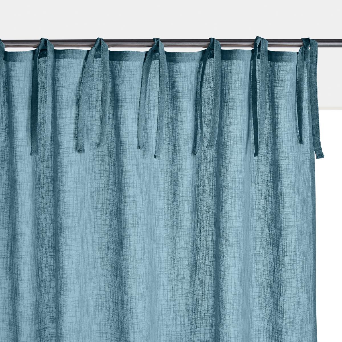 Занавеска LaRedoute С эффектом льна с завязками Nyong 250 x 140 см синий