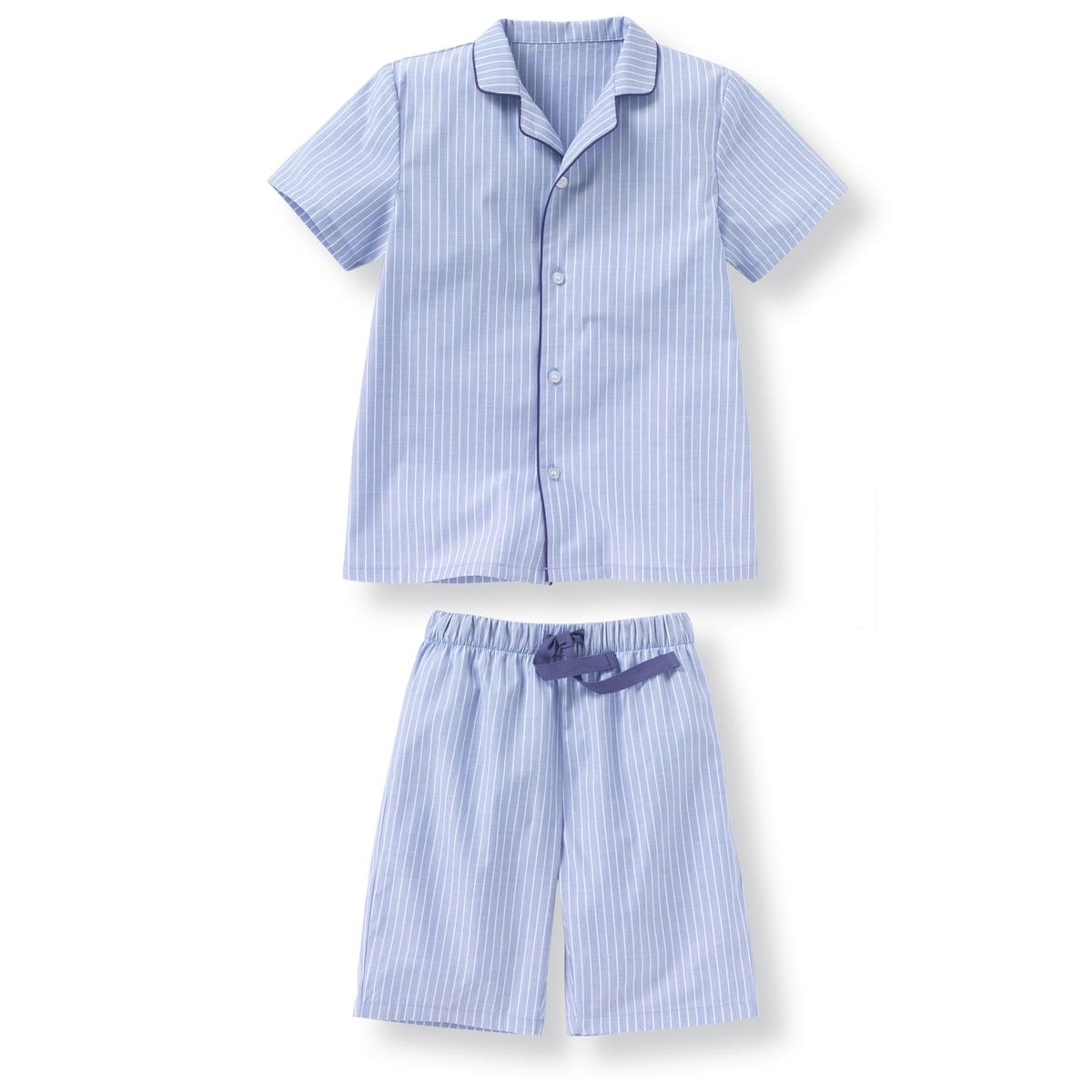 Пижама в полоску из поплина 2-12 летПижама в полоску из поплина состоит из рубашки и шорт . Рубашка с короткими рукавами и застежкой на пуговицы . Шорты на эластичном поясе с завязками . Состав и описание : Материал      поплин 100% хлопок  Марка       R essentielУход :Машинная стирка при 30°C с вещами схожих цветов.Стирка и глажка с изнаночной стороны.Машинная сушка в умеренном режиме.Гладить на низкой температуре.<br><br>Цвет: в полоску синий/белый<br>Размер: 12 лет -150 см.5 лет - 108 см.4 года - 102 см