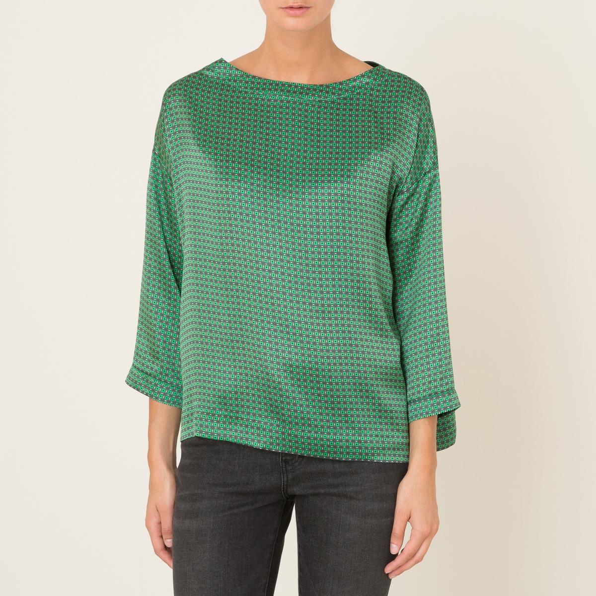 Блузка BACCOБлузка MOMONI - модель BACCO 100% шелка  . Объемный покрой. Вырез-лодочка. Рукава 3/4. Сплошной графический принт .Состав и описание :Материал : 100% шелка.Марка : MOMONI<br><br>Цвет: зеленый<br>Размер: XL
