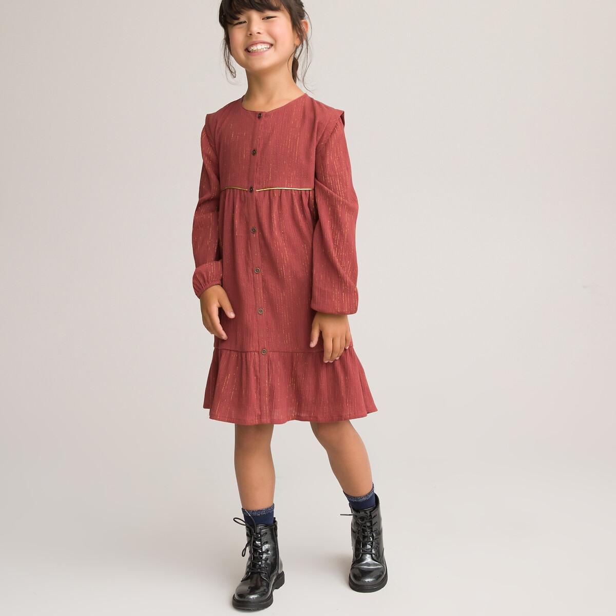Фото - Платье LaRedoute Из хлопчатобумажной газовой ткани 3-12 лет 12 лет -150 см каштановый платье laredoute с короткими рукавами из хлопчатобумажной газовой ткани 3 12 лет 3 года 94 см розовый