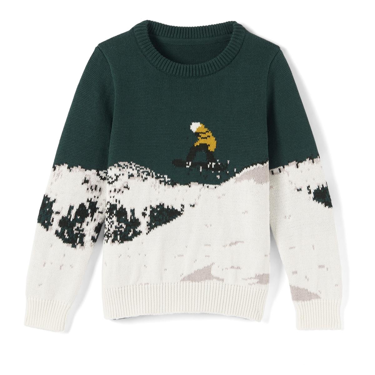 Пуловер с новогодним рисунком, 3-12 лет