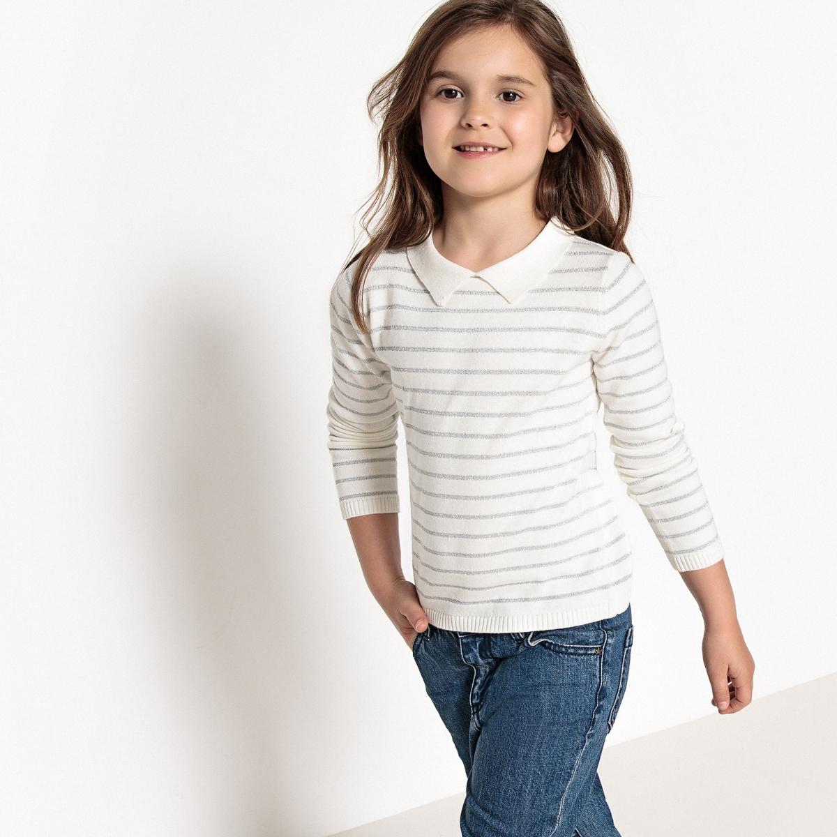 Пуловер в блестящую полоску, 3-12 лет