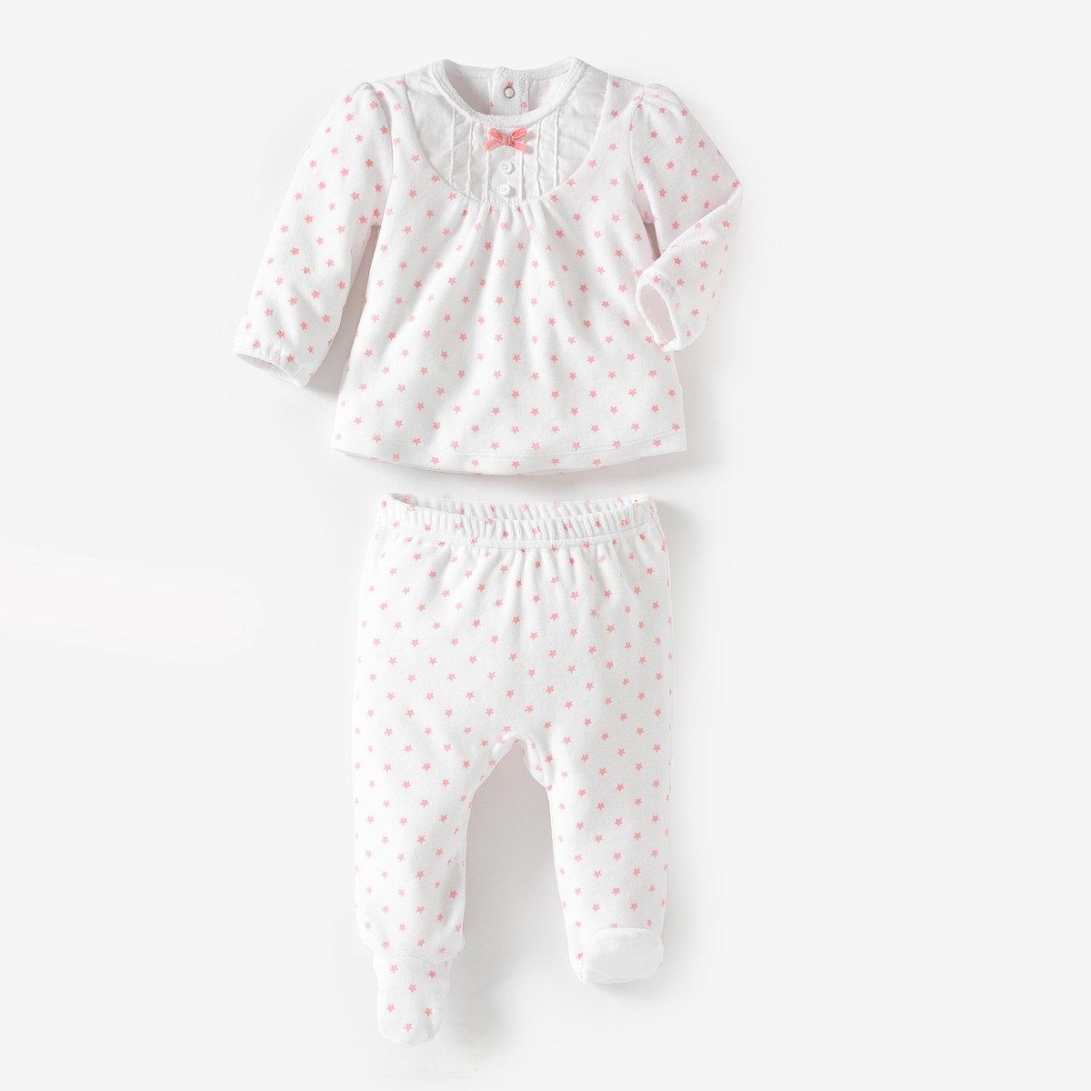 Пижама раздельная из велюра 0 мес-3 лет от La Redoute