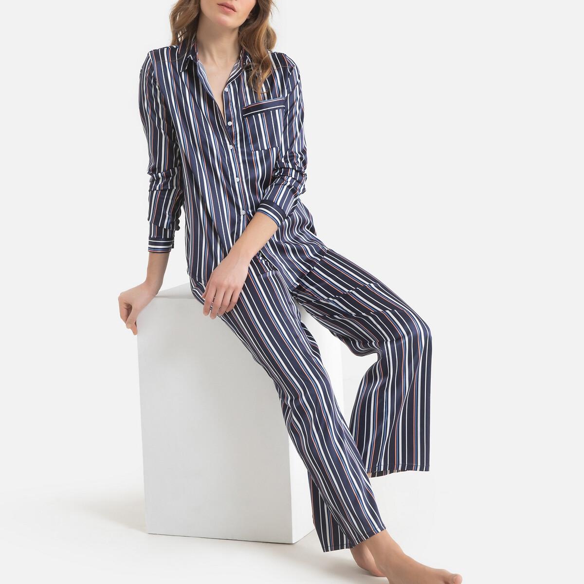 Фото - Пижама LaRedoute сатиновая в полоску 42 (FR) - 48 (RUS) синий пижама laredoute с шортами в полоску m синий