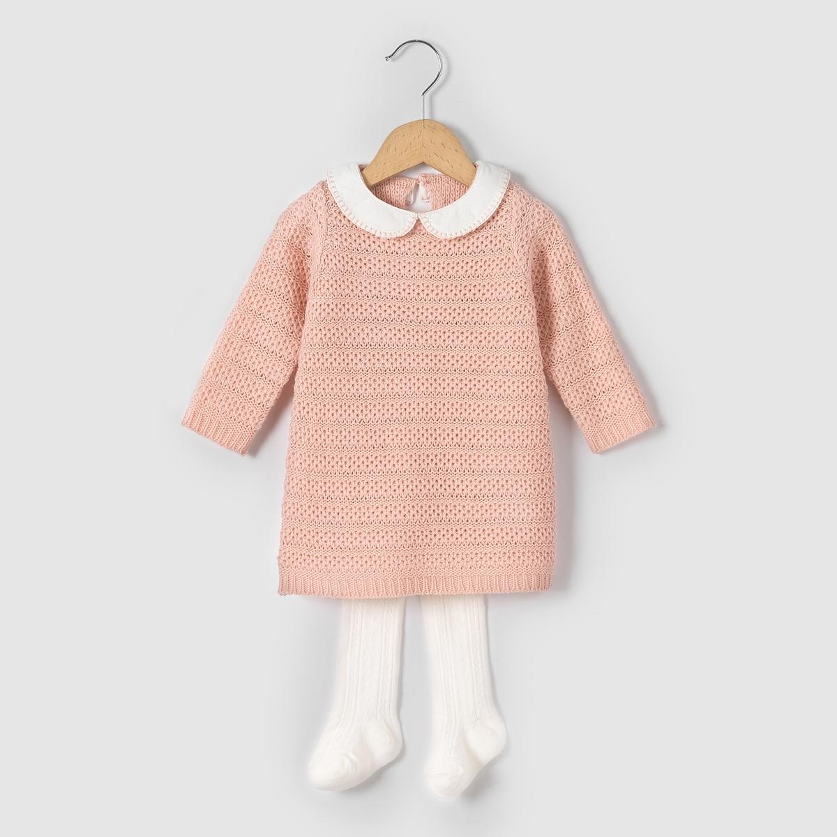 Комплект из платья и колготок, возраст 1 мес. - 3 года от La Redoute Collections