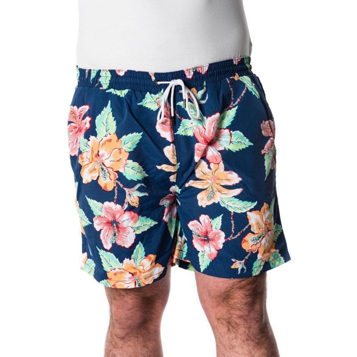 Short de bain marine motif fleuri