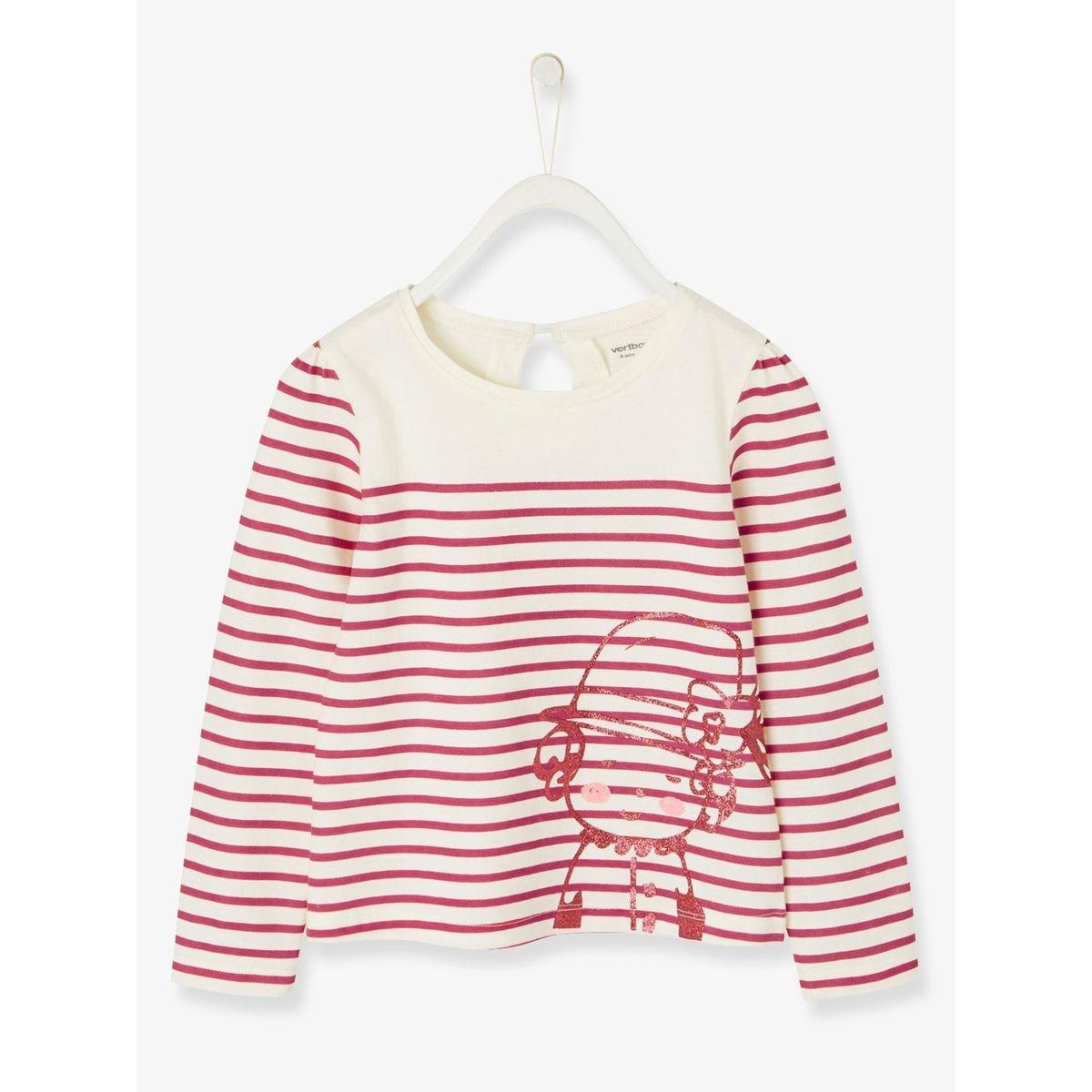 T-shirt fille esprit marinière en jersey