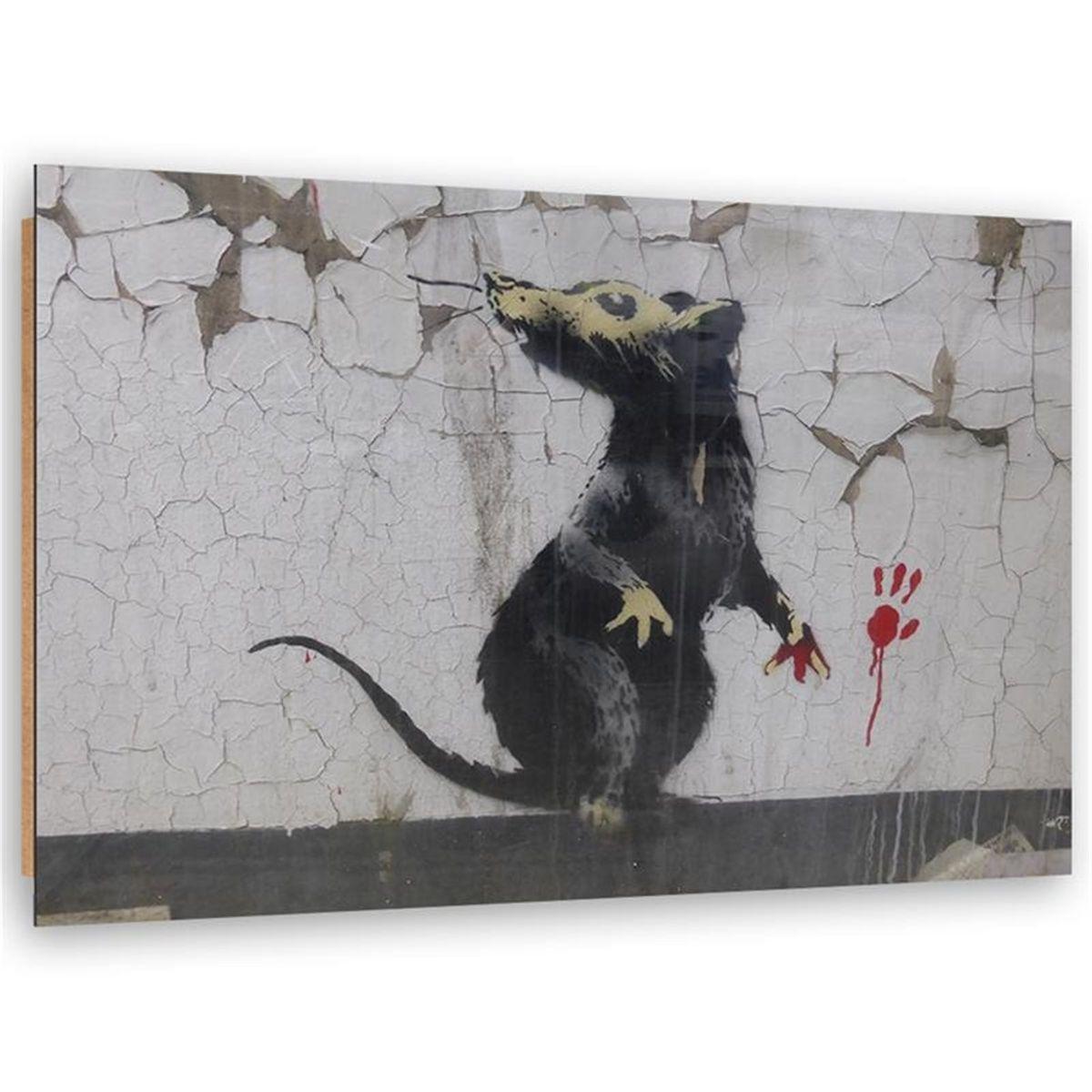 Tableau bois Banksy street art rat paw print
