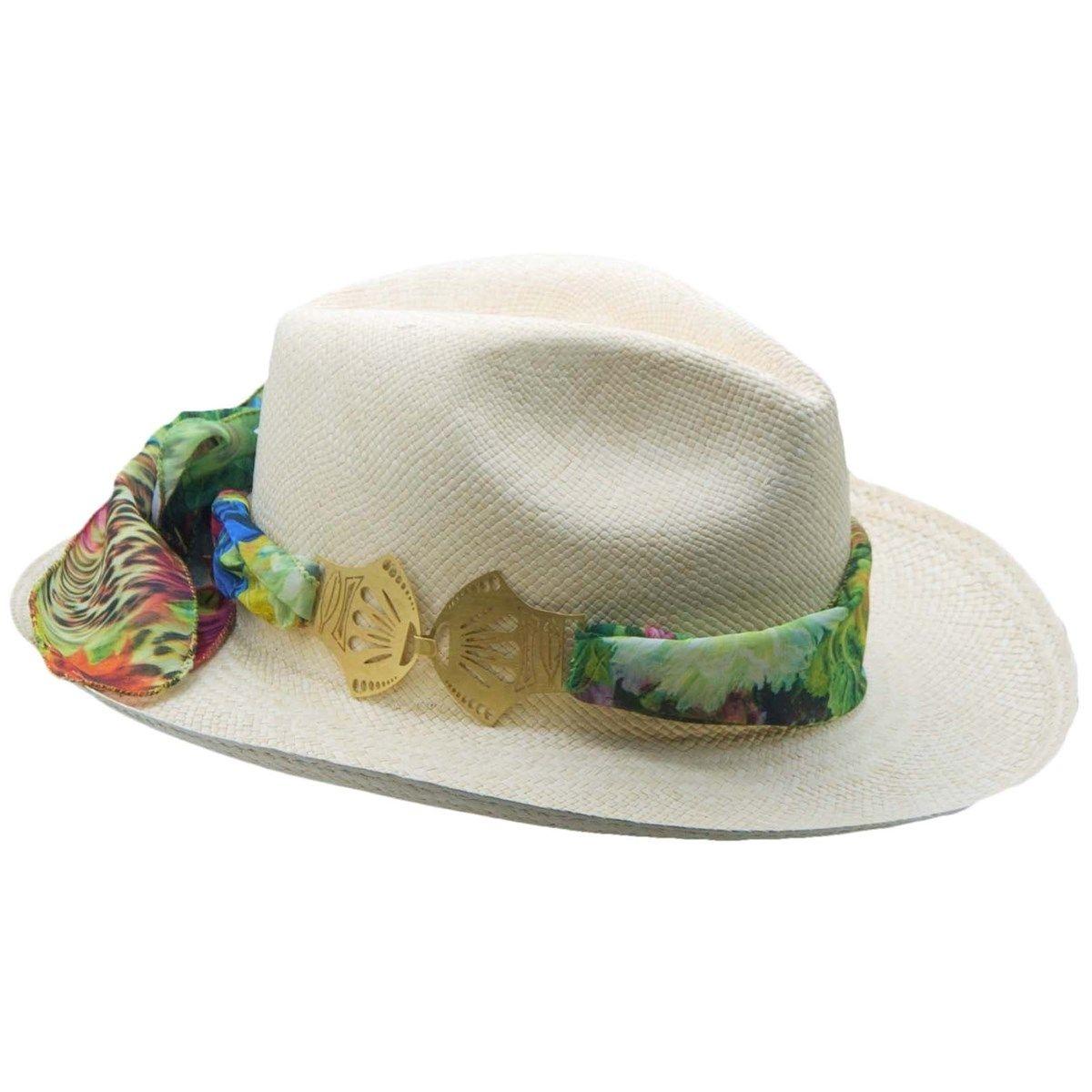 Chapeau panama en paille écru ruban interchangeable Foulard