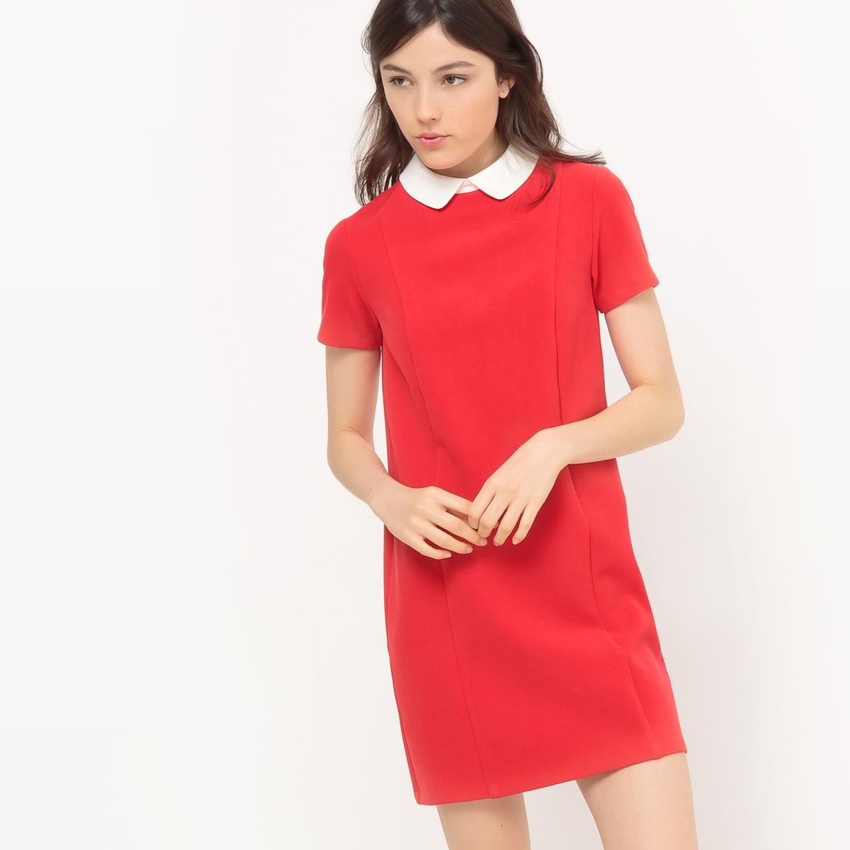 Платье двухцветное с закругленным отложным воротником
