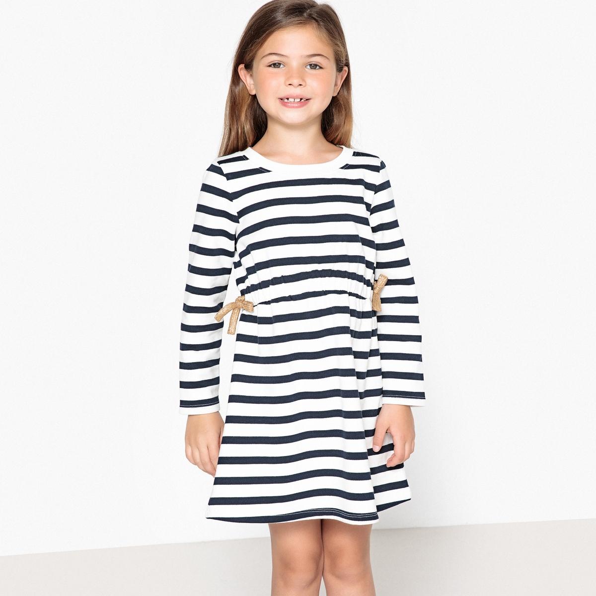 Платье в полоску с эластичным поясом из мольтона, 3-12 лет