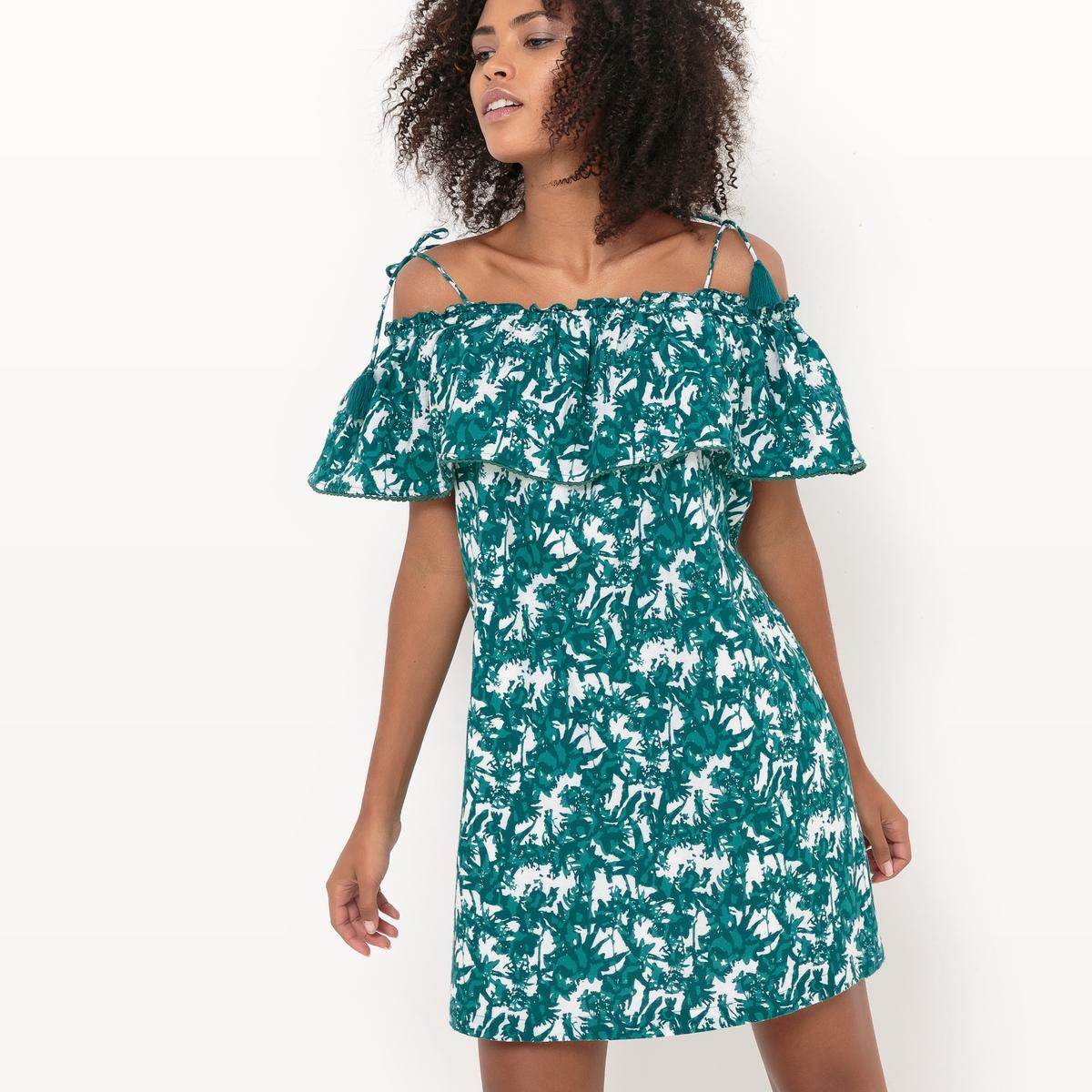 Платье короткое на тонких бретелях, с цветочным рисунком