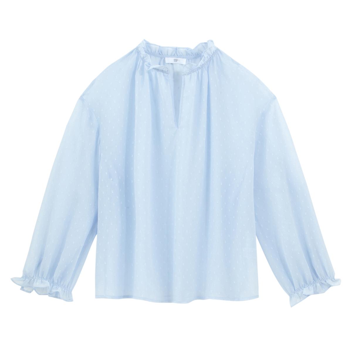 Blusa de plumetis con cuello alto, de manga larga