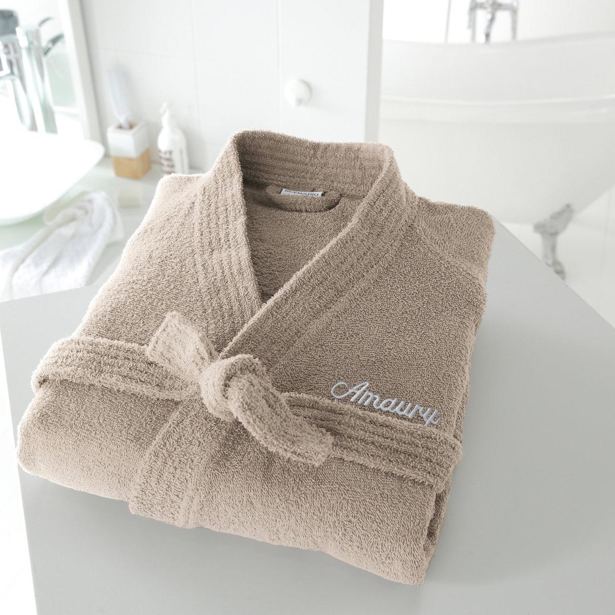 Халат с воротником кимоно с именной вышивкой, 350 г/м²