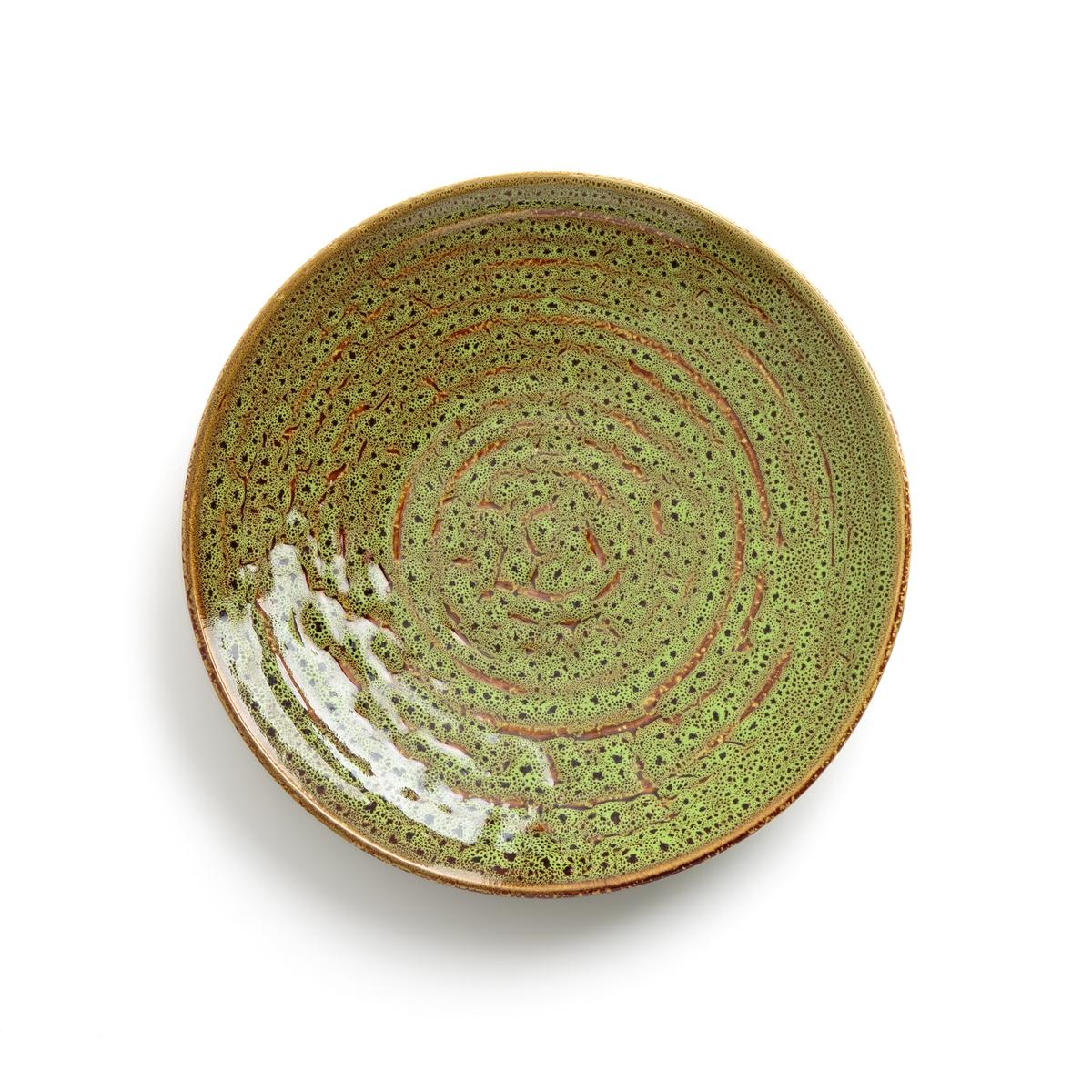 Тарелка для подачи из керамики TinolaТарелка для подачи Tinola. Оригинальная и элегантная с фарфором с эмалевым покрытием. Размер : ?25 x H4,5 см.<br><br>Цвет: зеленый
